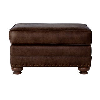 Link to Leinster Faux Leather Upholstered Nailhead Ottoman in Espresso Similar Items in Living Room Furniture