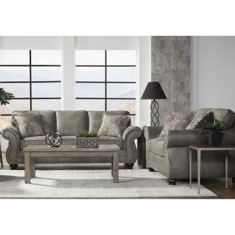 Leinster Faux Leather Upholstered Nailhead Sofa and Loveseat Set in Stone Gray