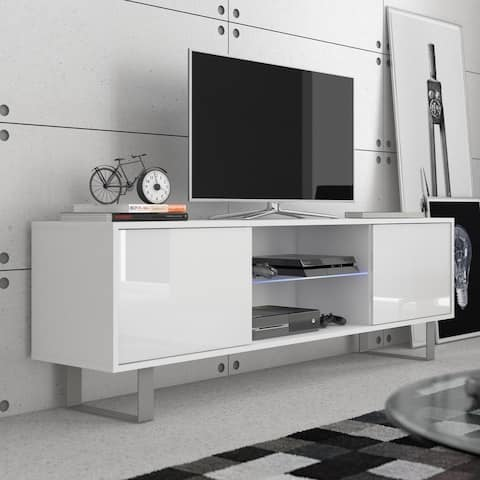 """KING 63"""" Modern TV Stand Glossy Fronts LED Lights Included"""