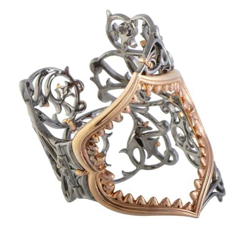 Stephen Webster Les Dents De La Mer Jaws Silver and Black Rhodium Rose Gold Plated Large Jaws Cuff Bracelet
