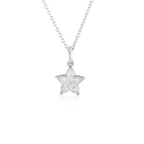 Luca Carati White Gold Diamond Flower Pendant Necklace