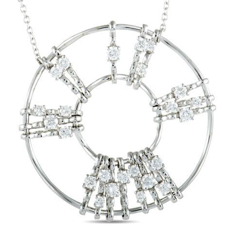 Luca Carati White Gold Diamond Round Pendant Necklace