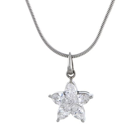 Luca Carati White Gold and Diamond Flower Pendant Necklace