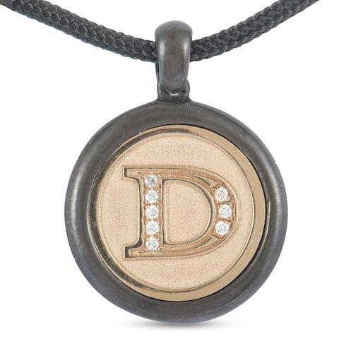Luca Carati Rose Gold Silver and Black Rhodium Diamond D Round Pendant Black Cord Necklace