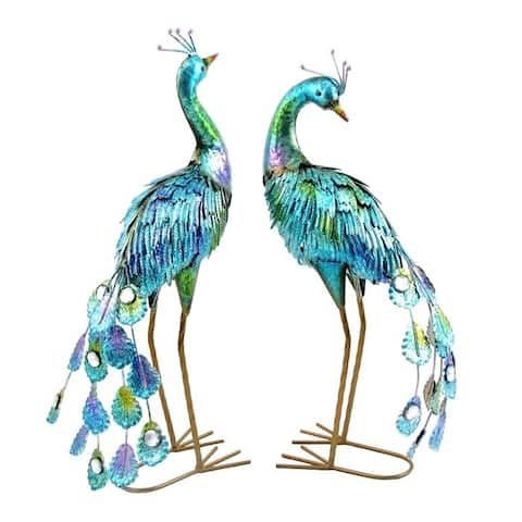 22-inch Painted Peacocks (Set of 2) by Havenside Home