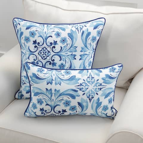 Pillow Perfect Fresco Delft Throw Pillow