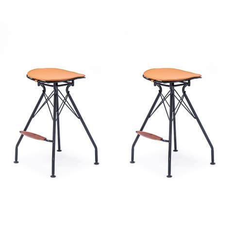 Industrial Metal Faux Leather and Wood 24-Inch Barstool Set of 2