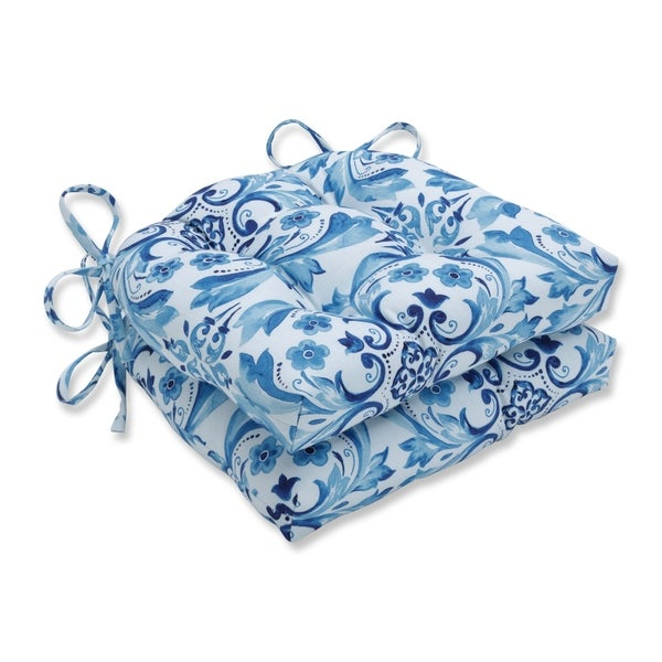 Pillow Perfect Fresco Delft Reversible Chair Pad (Set of 2)