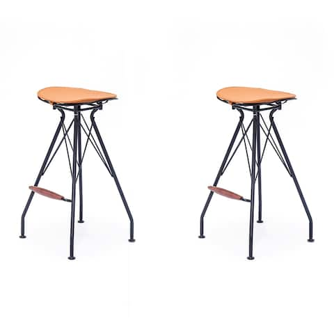 Industrial Metal Faux Leather and Wood 30-Inch Barstool Set of 2