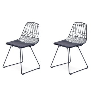Modern Faux Leather Geometric Metal Dining Chair Set of 2