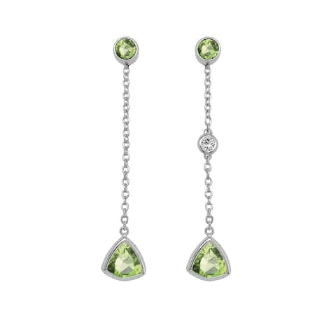 Noray Designs 14K Gold Trillion Shape Gemstone & Diamond (0.04 Ct, G-H Color, SI2-I1 Clarity) Mismatched Earrings