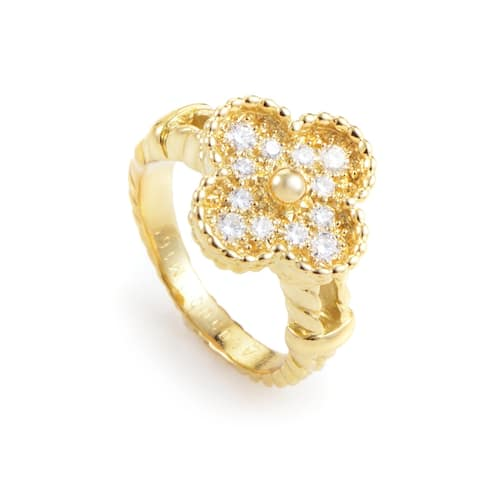 Van Cleef & Arpels Vintage Alhambra Women's Yellow Gold Diamond Ring Size - 5