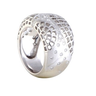 Cartier White Gold Diamond Wide Mesh Band Ring