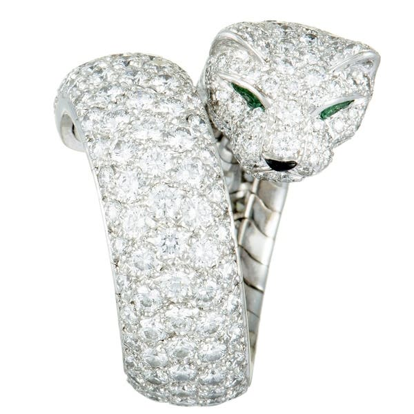31c500c9b571c Shop Cartier Panthere White Gold Diamond Pave Onyx & Emerald Bypass ...