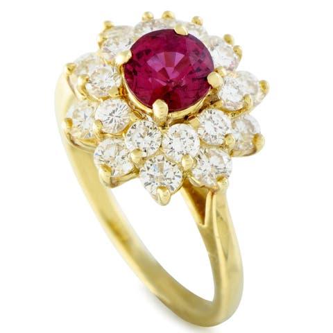 Tiffany & Co. Yellow Gold Diamond and Ruby Flower Ring Size 5.25