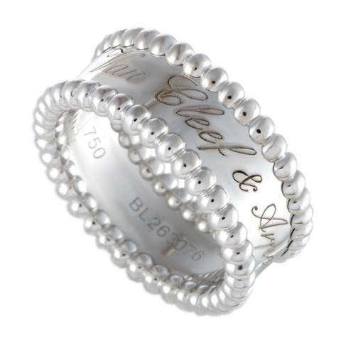 Van Cleef & Arpels Perlée White Gold Signature Band Ring Size 5.25