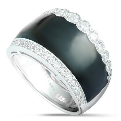 Picchiotti White Gold Diamond Pave and Onyx Wide Band Ring Size 7.5