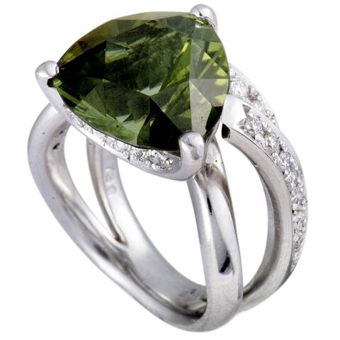 Platinum Diamonds and Trillion Cut Green Tourmaline Ring