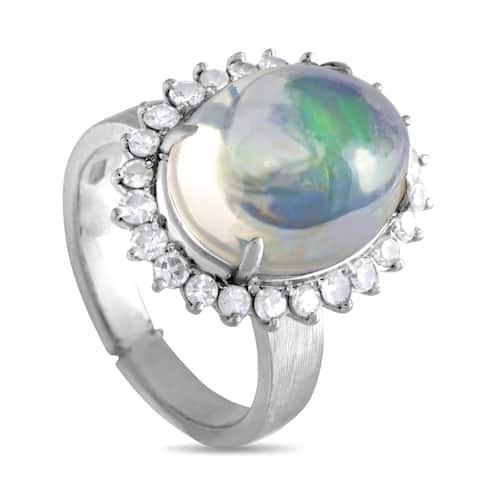 Pre-Owned White Gold Diamond and Opal Ring Size 7