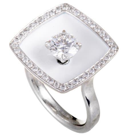 Chanel White Gold Diamond and White Enamel Square Cushion Ring