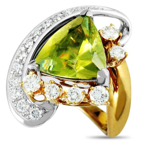 Pre-Owned Yellow Gold and Platinum Diamond and Trillion Peridot Large Ring Size 7.25