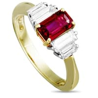 Tiffany & Co. Yellow Gold and Platinum Diamond and Ruby Ring