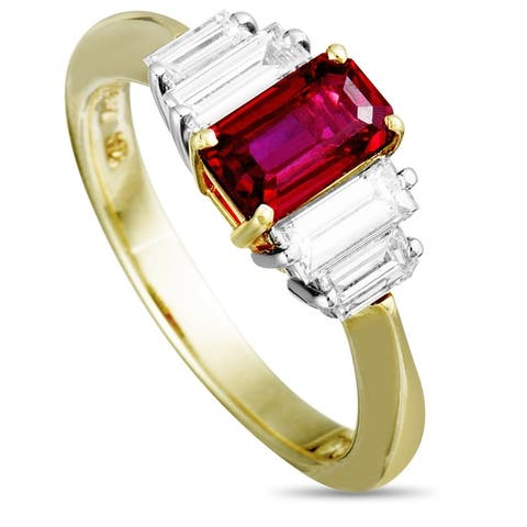 Tiffany & Co. Yellow Gold and Platinum Diamond and Ruby Ring Size - 6.25