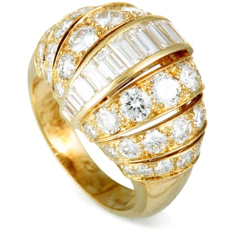 Pre-Owned Cartier Yellow Gold Diamond Bombe Ring Size 6.75