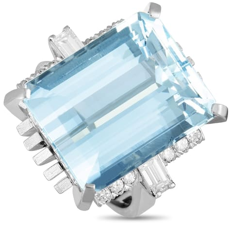 Pre-Owned Platinum Diamond and Large Rectangle Aquamarine Ring Size 7.5