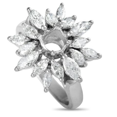 Pre-Owned Platinum Marquise Diamond Round Mounting Ring Size 5