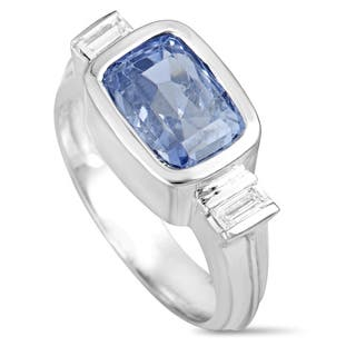 White Gold Baguette Diamonds Rectangle Sapphire Ring