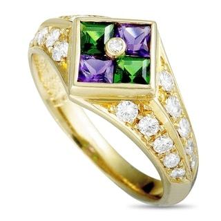 Yellow Gold Diamonds, Amethyst and Tsavorite Ring