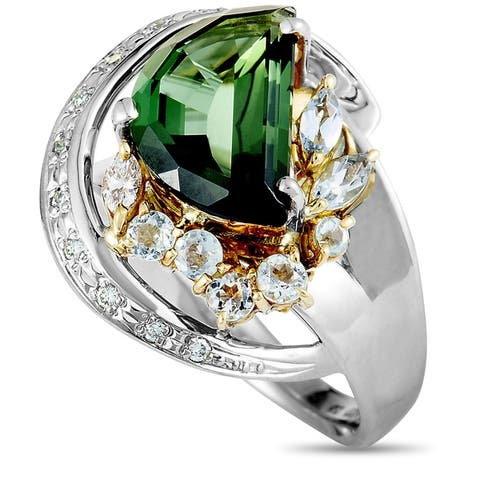 Pre-Owned Platinum and Yellow Gold Diamond and Half Moon Green Tourmaline Ring Size 6.25