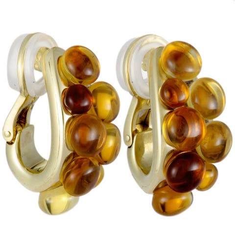 Pomellato Mora Yellow Gold Citrine Cabochon Cluster Huggie Clip-on Earrings