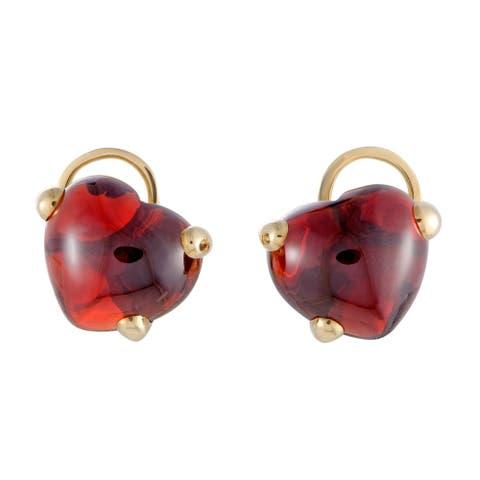 Pomellato Capri Yellow Gold Garnet Cabochon Heart Clip-on Earrings