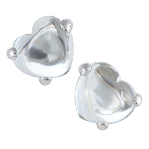 Pomellato Capri White Gold Green Amethyst Cabochon Heart Clip-on Earrings