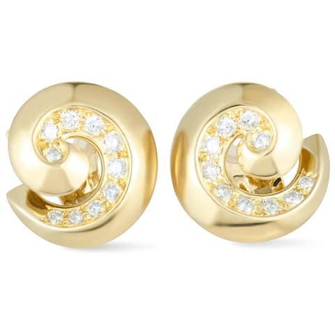 Van Cleef & Arpels Yellow Gold Diamond Breeze Swirl Omega Earrings
