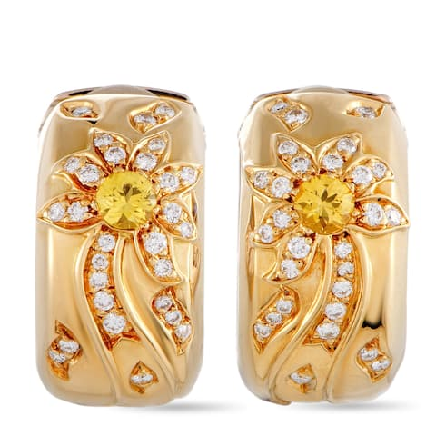 Chanel Day and Night White and Yellow Gold Diamond and Sapphire Huggie Clip-On Earrings