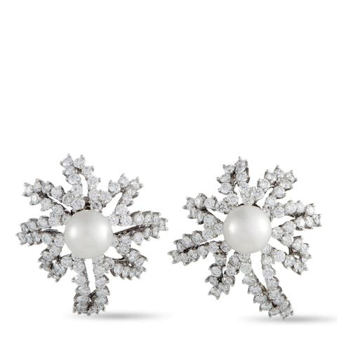 Tiffany & Co. Fireworks Platinum Diamond and Pearl Earrings