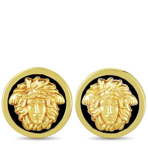 Versace Vintage Yellow Gold Enamel Medusa Clip-On Earrings