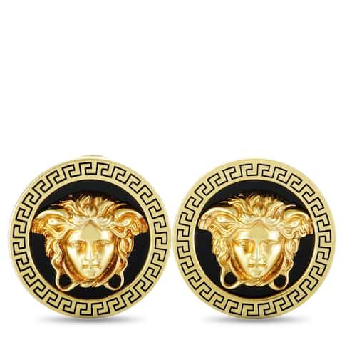 Versace Vintage Yellow Gold Enamel Medusa Earrings