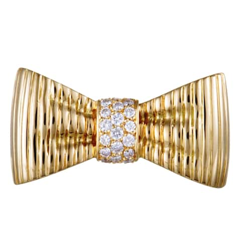 Van Cleef & Arpels Yellow Gold Diamond Pave Bow Brooch