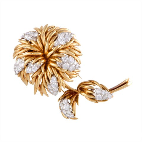 Van Cleef & Arpels Yellow and White Gold Diamond Flower Brooch