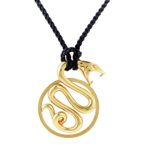 Boucheron Yellow Gold Snake Pendant & Long Braided Cord Necklace