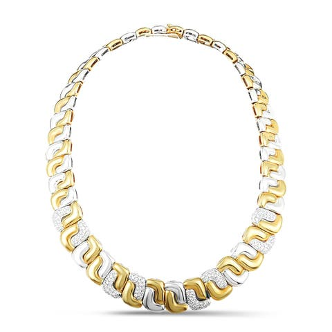 Tiffany & Co. Yellow and White Gold Diamond Pave Collar Necklace