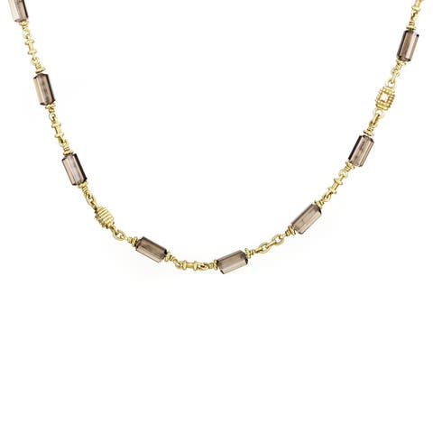 Judith Ripka Women's Yellow Gold Diamond & Smoky Quartz Choker Necklace