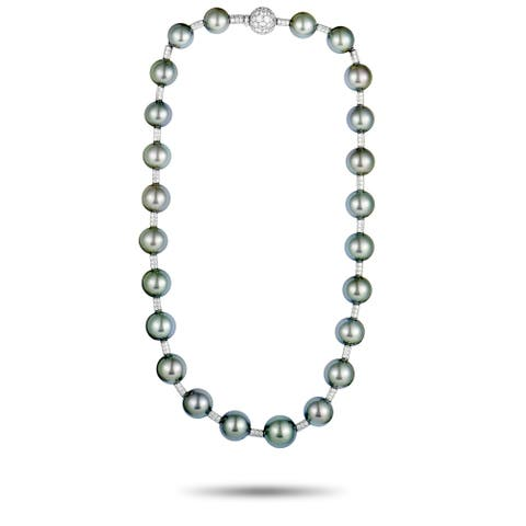 Chanel White Gold Diamond and Tahitian Black Pearls Necklace