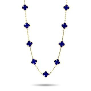Van Cleef & Arpels Alhambra Yellow Gold and Lapis Lazuli 20-Motif Necklace