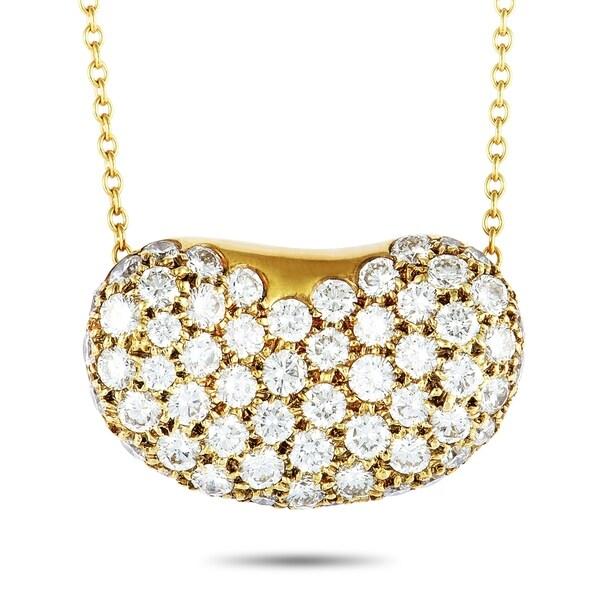 4a1cd7547 Tiffany & Co. Elsa Peretti Yellow Gold Diamond Bean Pendant Necklace