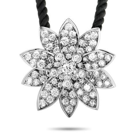 Van Cleef & Arpels Lotus White Gold Diamond Medium Pendant Necklace